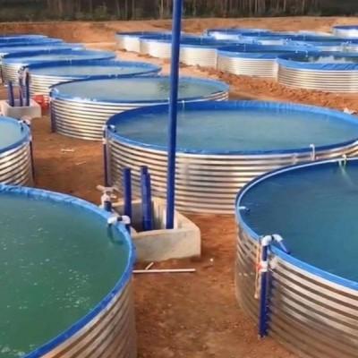 镀锌板养殖帆布支架 圆形刀刮布养殖鱼池支架