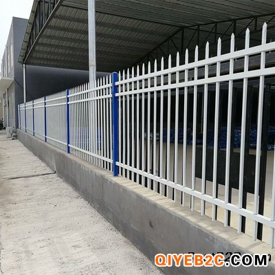 小区锌钢护栏 蓝白色围墙栏杆 新农村建设可视围栏