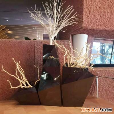 一条线玻璃钢菱形花盆组合白色玻璃钢花钵厂家定制生产