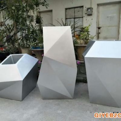 玻璃钢菱形花盆银色异形玻璃钢花器厂家直销广东