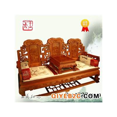 红木罗汉床家具原木独板雕刻