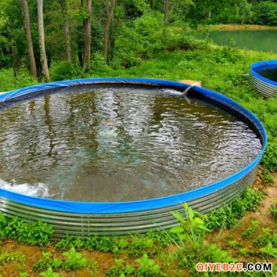 新型镀锌板帆布鱼池大型户外高密度养殖池铁桶铁仓养鱼